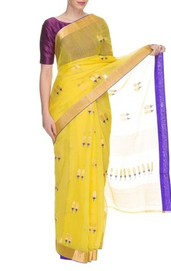 Bright yellow handwoven floral motif sari