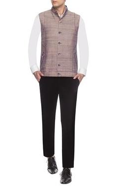 Brown textured & printed nehru jacket