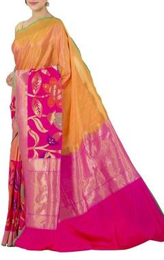 mustard and fuschia banarasi silk sari