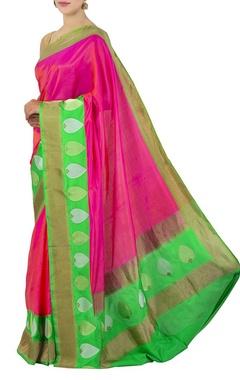 pink orange & green banarasi silk sari