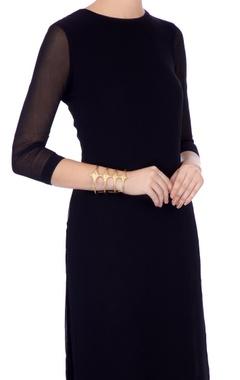 Golden gold plated brass cut-out statement bracelet