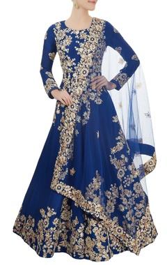 Aneesh Agarwaal Blue embroidered anarkali Set