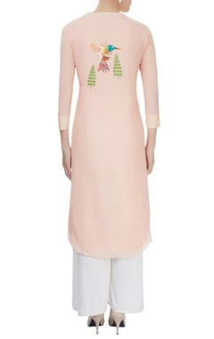 Peach cotton silk kurta with hand embroidered details and bird motifs