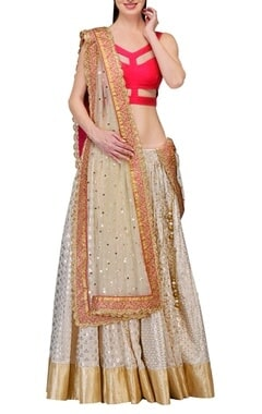 Ivory & raani pink gota embroidered lehenga set