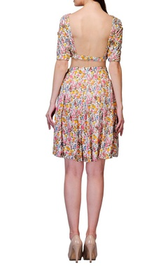 Multi colored floral printed crop top with skirt