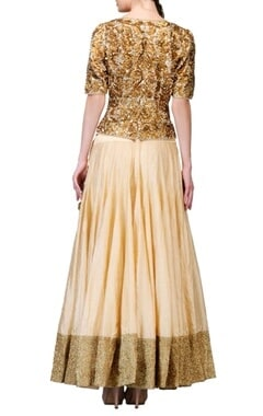 Gold & cream embellished lehenga set