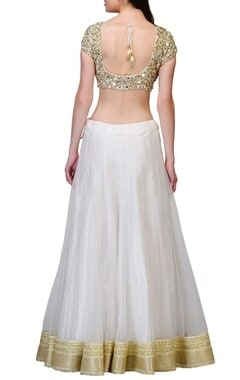 Ivory mirror embroidered lehenga set