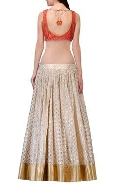 Ivory & coral gota embroidered lehenga set