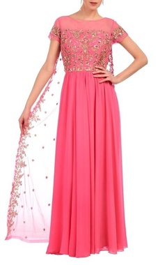 Aneesh Agarwaal Carnation pink & gold floral embroidered layered dress