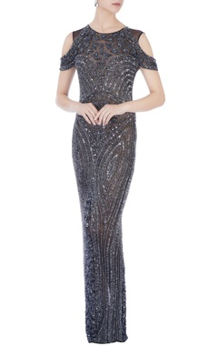 silver stretchable net hand embroidered gown