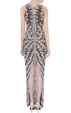 black & white stretchable net hand embroidered gown
