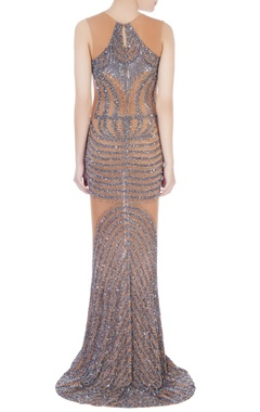 beige & silver stretchable net hand embroidered gown