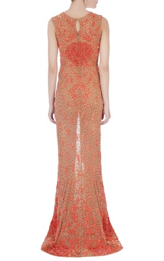 orange stretchable net hand embroidered gown