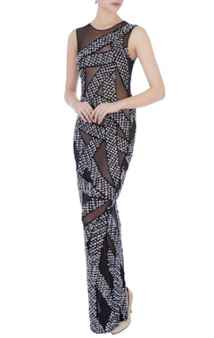 black stretchable net hand embroidered gown
