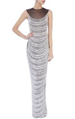 white  stretchable net hand embroidered gown