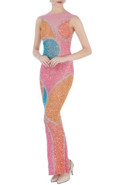 multi-colored stretchable net hand embroidered gown