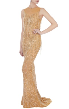 gold  stretchable net hand embroidered gown