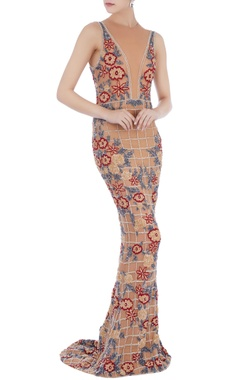 beige stretchable net hand embroidered gown