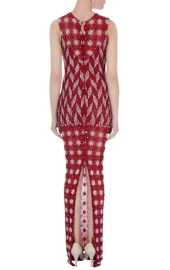 red & silver stretchable net hand embroidered gown