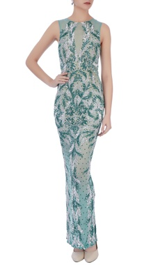pista green stretchable net hand embroidered gown