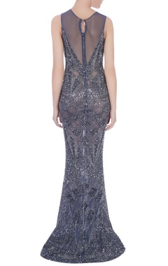 silver & black stretchable net hand embroidered gown