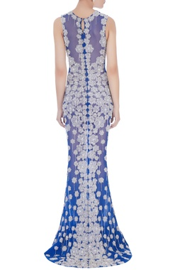blue & silver stretchable net hand embroidered gown