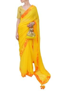Haldi yellow embroidered marble sari