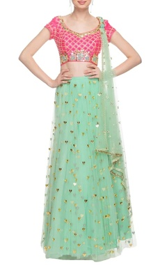 Coral pink & mint green embellished lehenga set