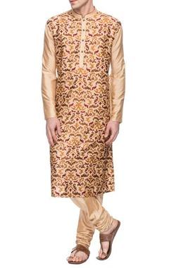Cream motif embroidered kurta