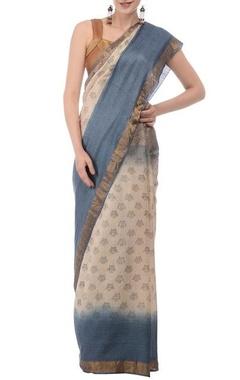 cream & pale blue printed linen sari
