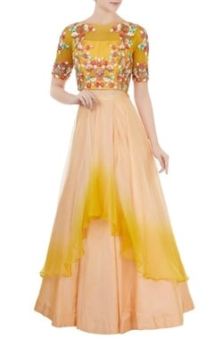 Yellow & beige dupion silk crop top with organza skirt