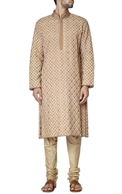 beige tile embroidered kurta set