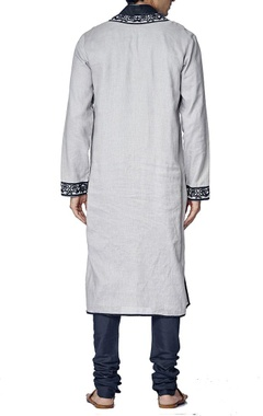 pale grey and navy blue embroidered kurta set