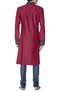 Burgundy and navy blue sherwani set