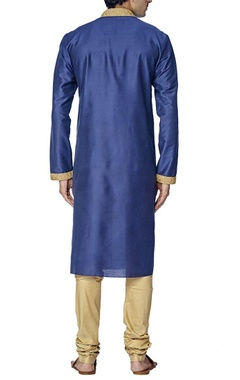 royal blue and gold embroidered kurta set