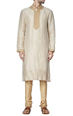 Ecru leaf embroidered kurta set