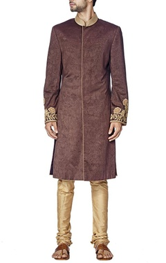 Brown and gold rose embroidered sherwani set