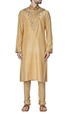 Beige paisley embroidered kurta set