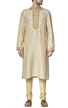 ivory and beige paisely kurta set