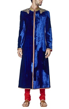 Royal blue embroidered sherwani set