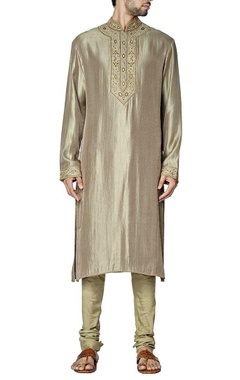 grey and olive green embroidered kurta set
