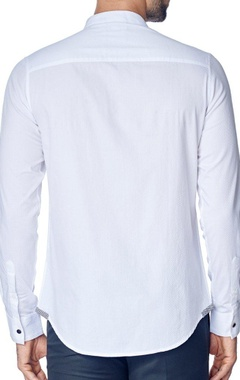 Classic white shirt with band collar