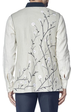 Light grey cherry blossom nehru jacket with shirt