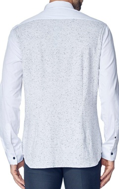 White shirt with grey knitted panel
