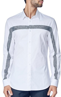 White shirt with grey knitted stripe