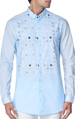 sky blue geometrical block printed shirt