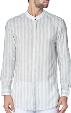 White shirt with grey woven stripes