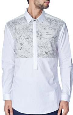 White shirt with grey marble print