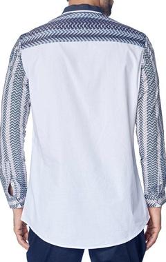 white shirt with grey blocks print