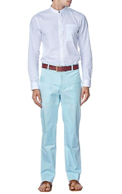Powder blue fitted trousers